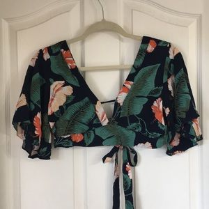 Boho tropical print top with bell sleeves